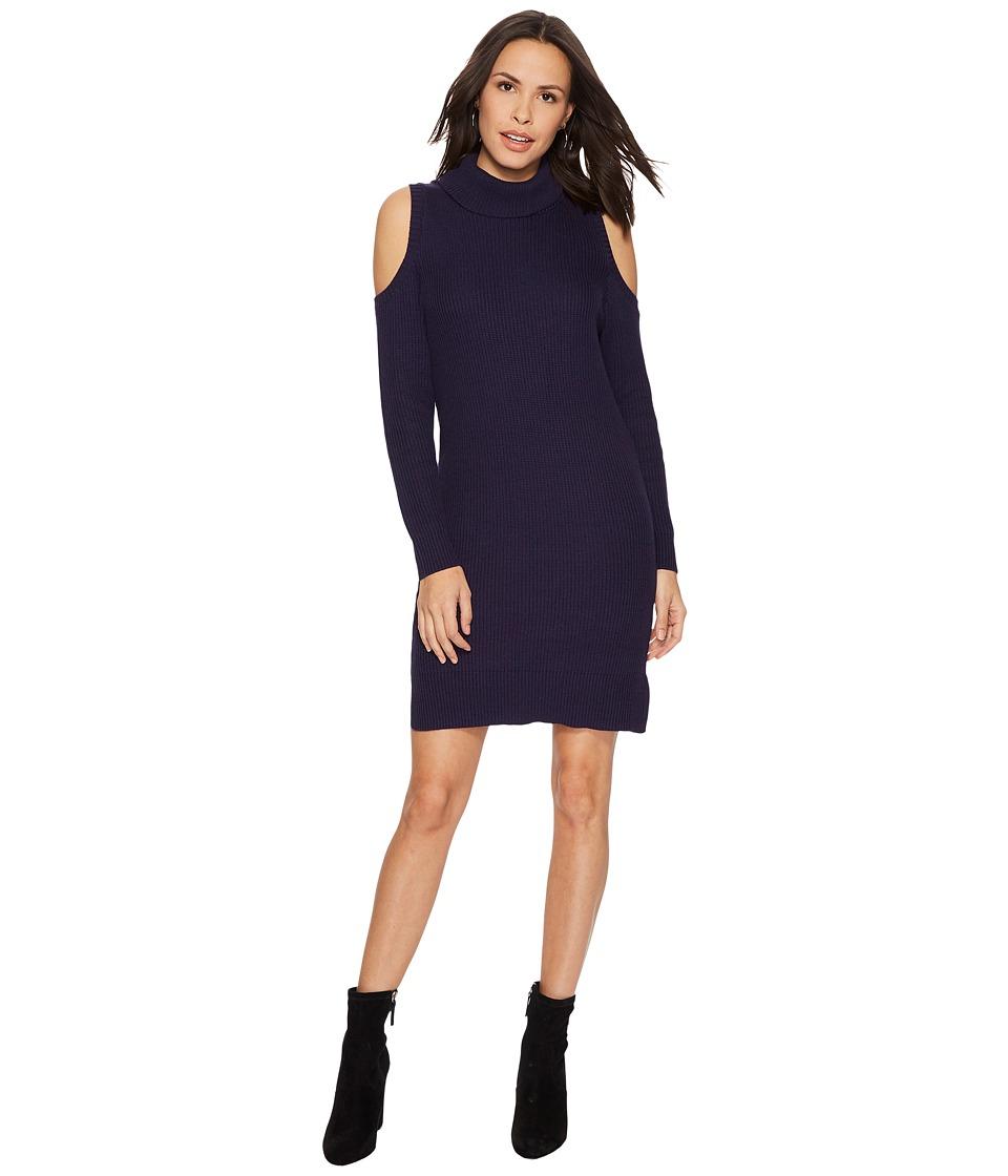 kensie Cotton Blend Cold Shoulder Sweater Dress KS1U7069 (Midnight Navy) Women