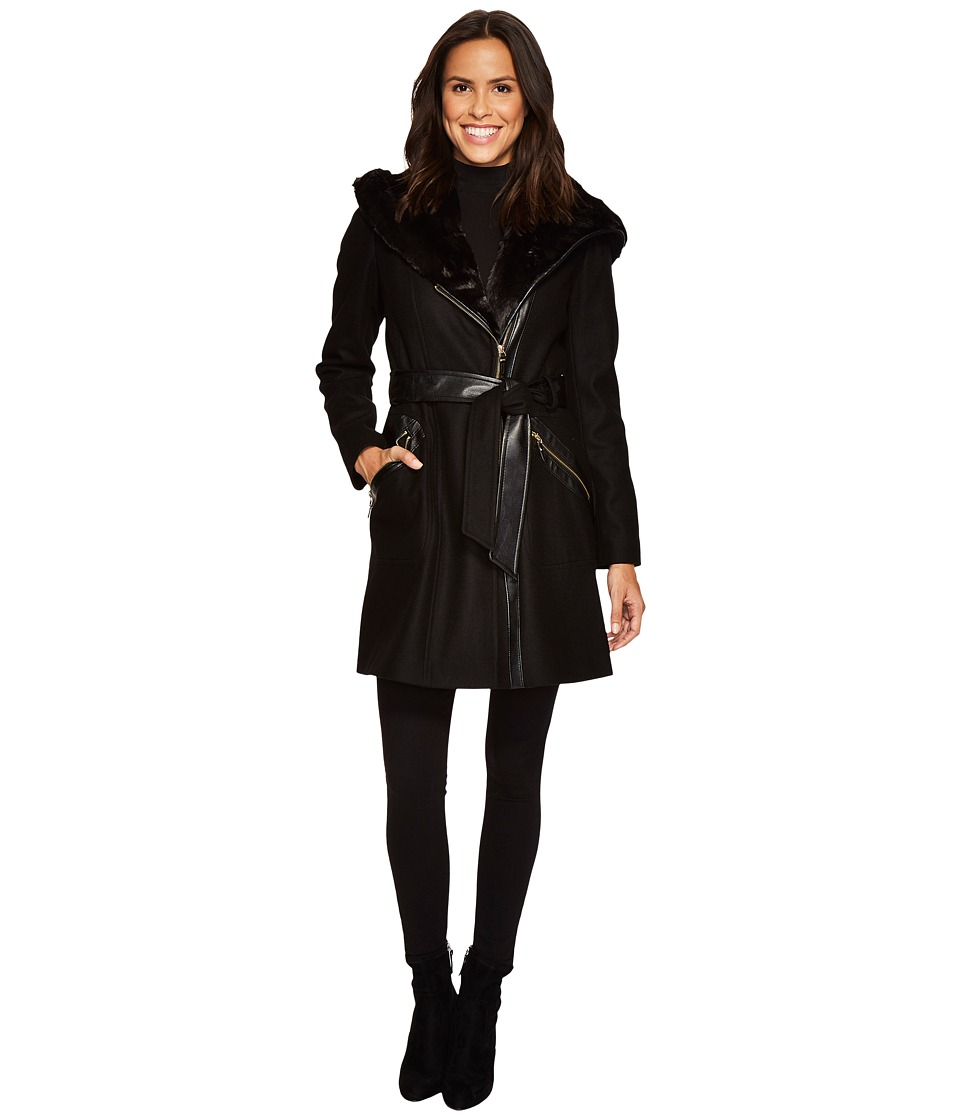 Via Spiga - Mix Media Wool Belted (Black) Women's Coat