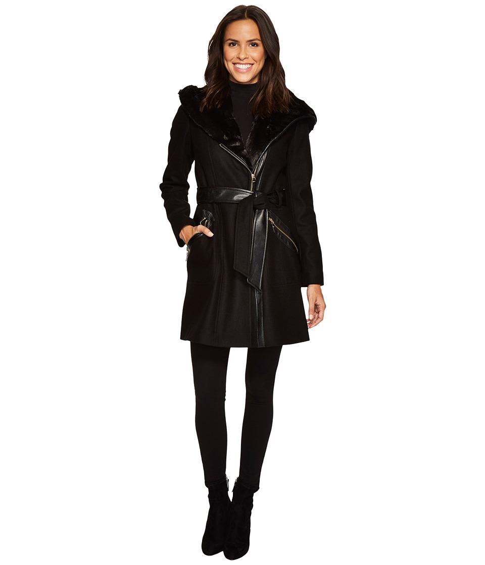 Via Spiga - Mix Media Wool Belted (Black) Women's Coat