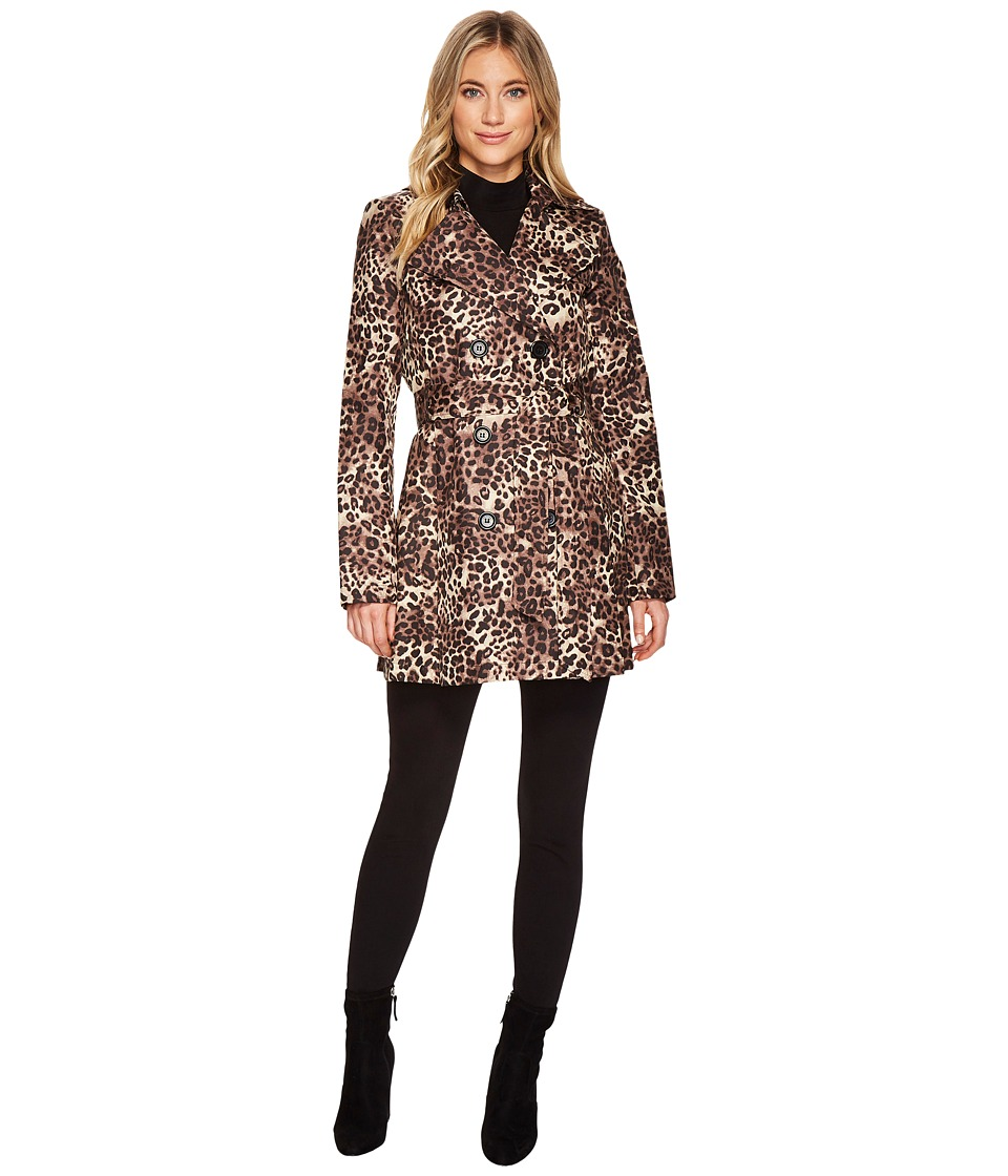 Via Spiga - Double Breasted Leopard w/ Self Belt (Leopard) Women's Coat
