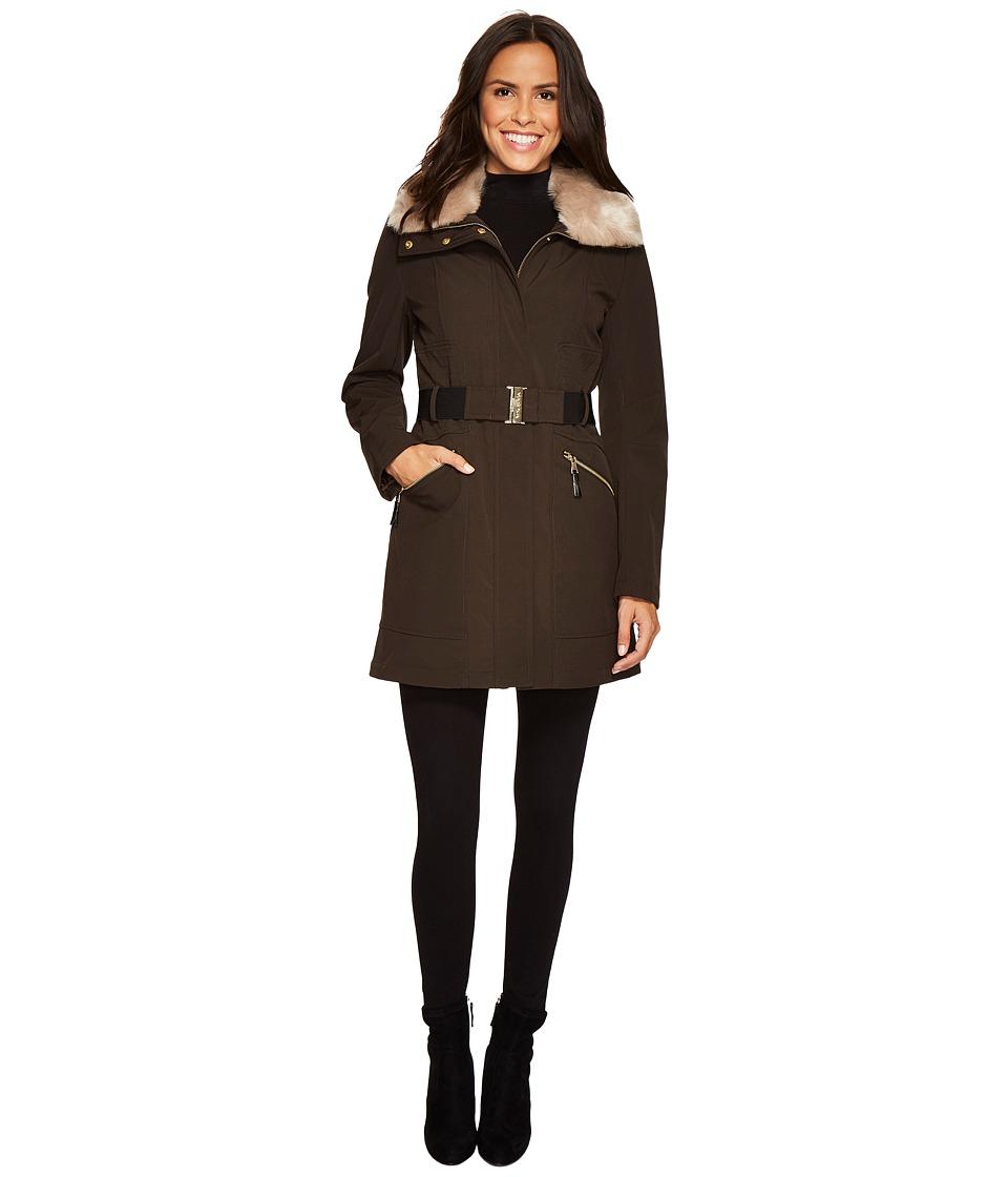 Via Spiga - Wool Belted Faux Fur Collar (Loden) Women's Coat