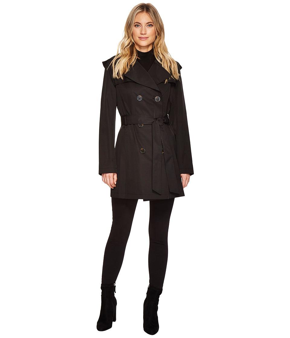 Via Spiga - Double Breasted Rain (Black) Women's Coat