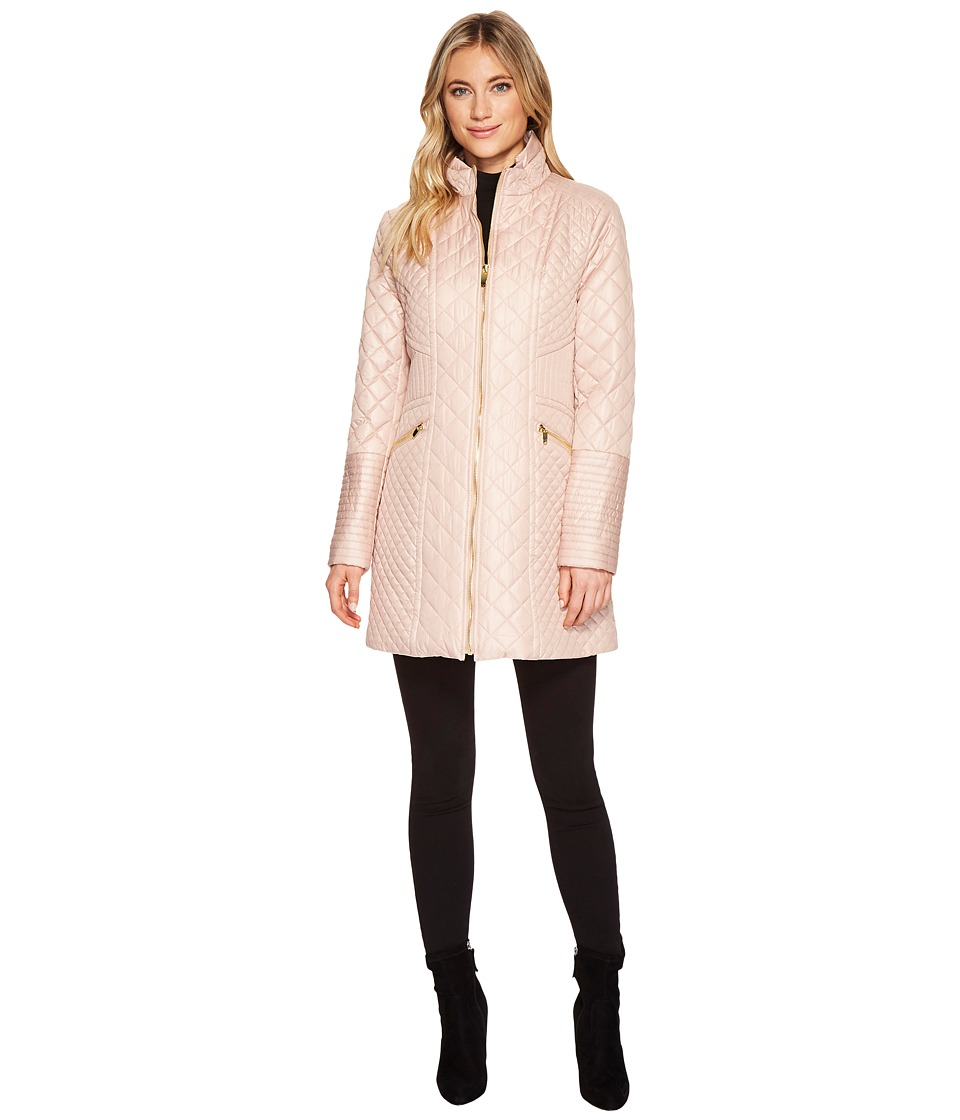 Via Spiga - Boxy Diamond Quilt (Pink Blush) Women's Coat