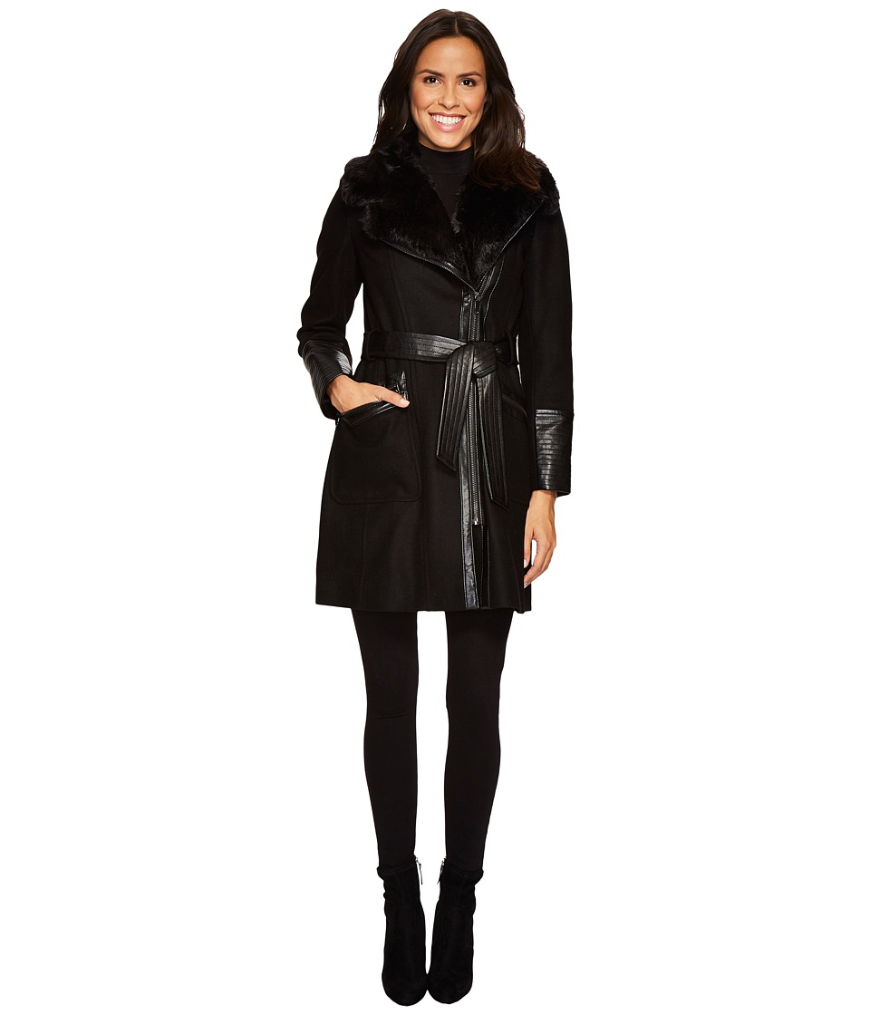 Via Spiga - Mix Media Belted Coat (Black) Women's Coat