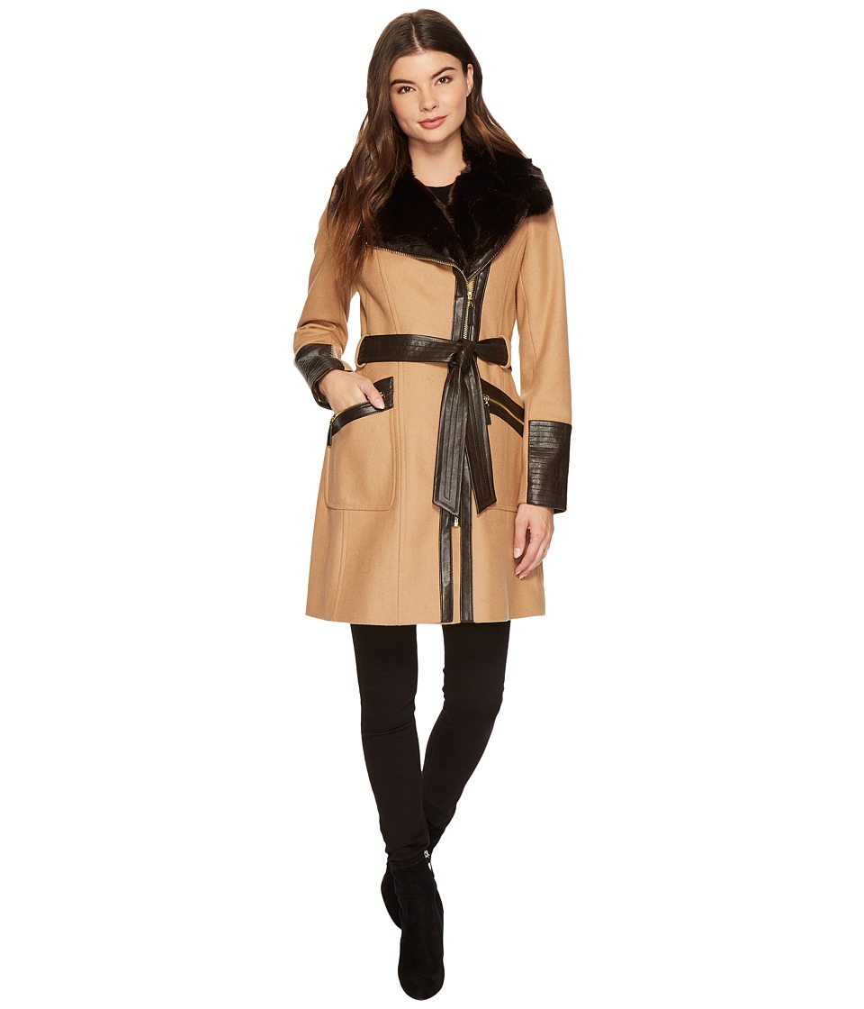 Via Spiga - Mix Media Belted Coat (Camel) Women's Coat