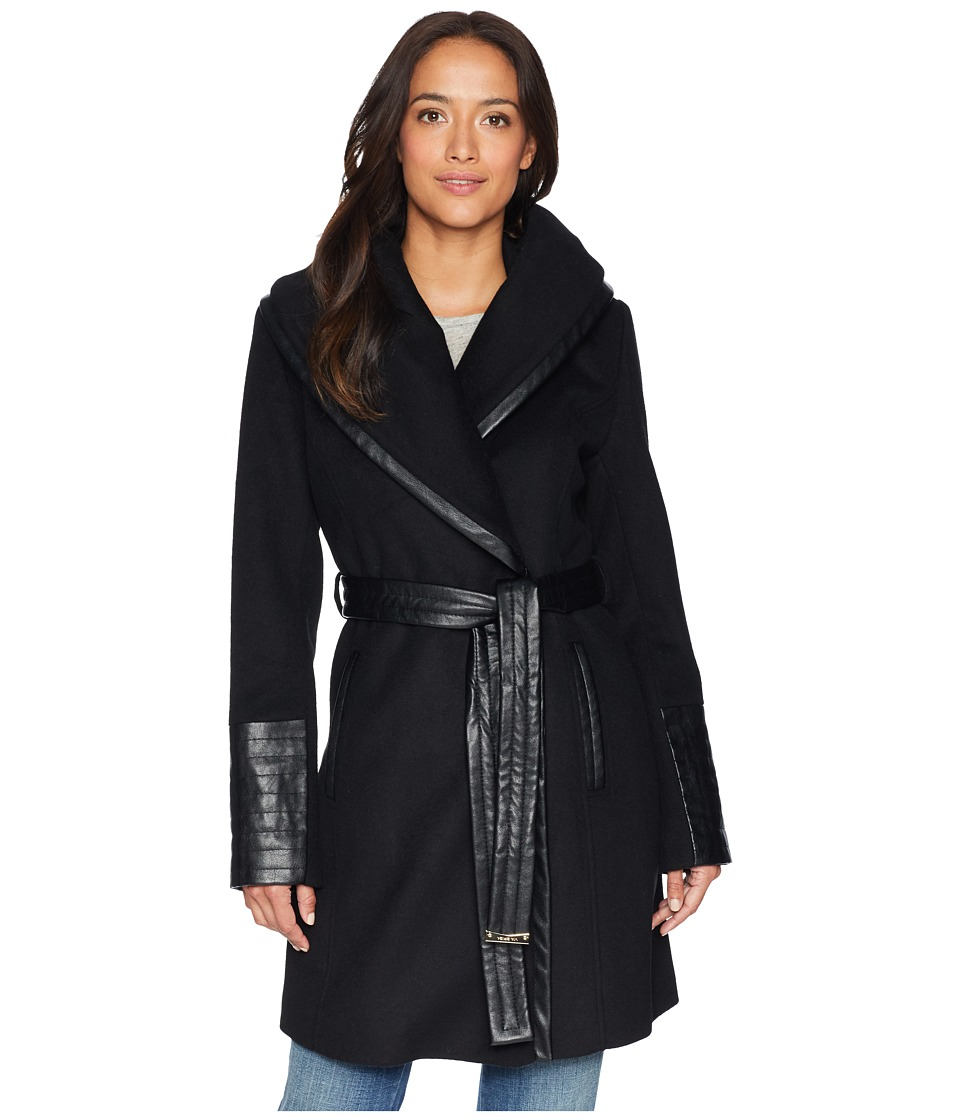 Via Spiga - Wide Collar Mix Media Belted (Black) Women's Coat