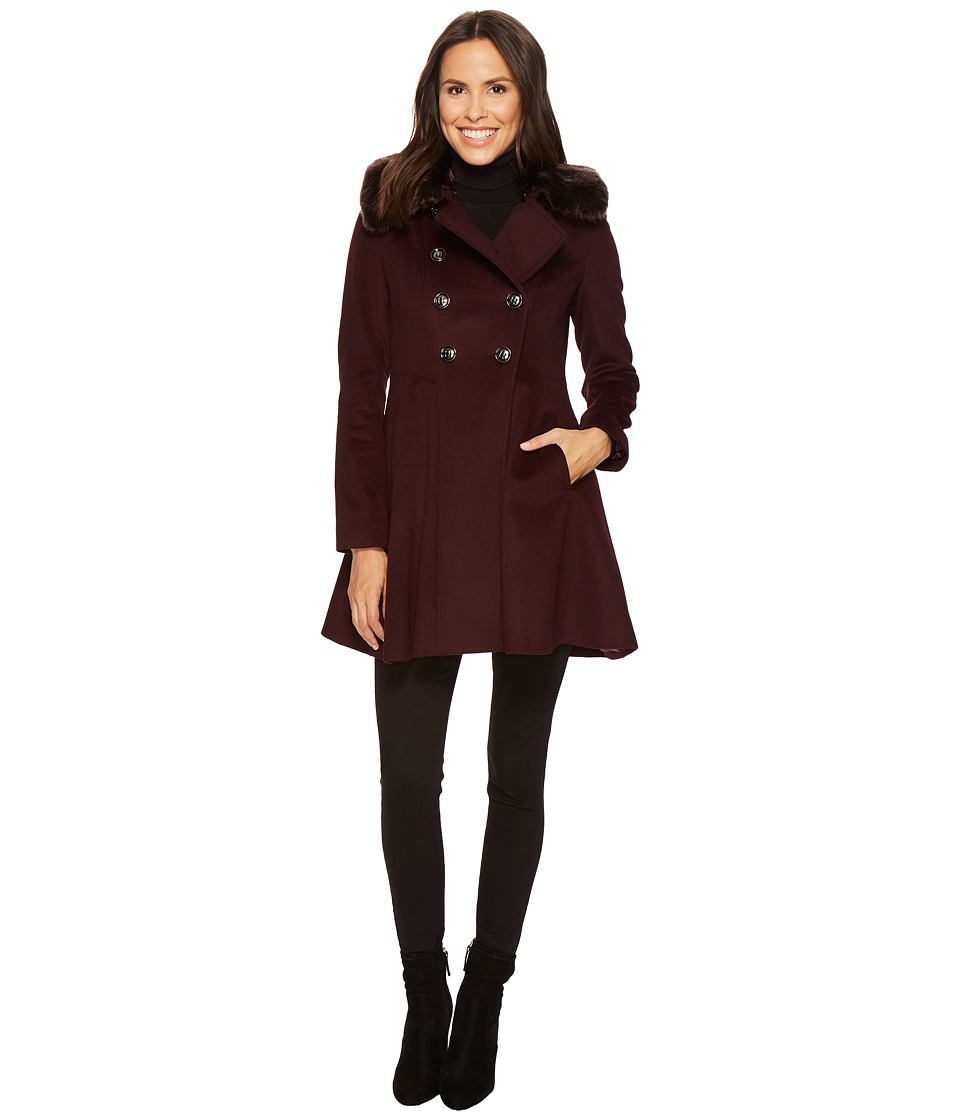 Via Spiga - Military Inspired Wool A-Line w/ Faux Fur (Shiraz) Women's Coat