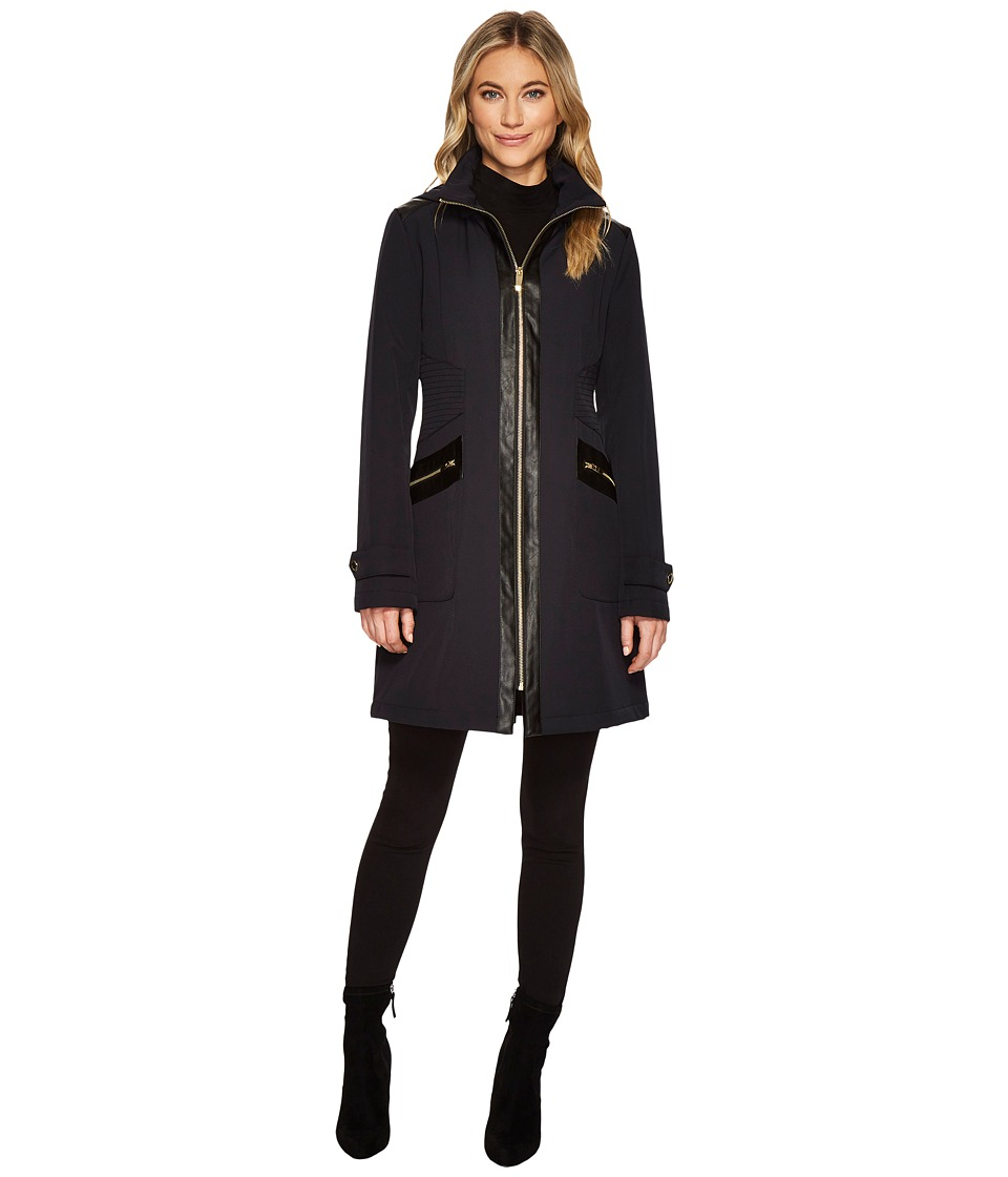 Via Spiga - Wool High Neck w/ PU Zip Inset (Navy) Women's Coat