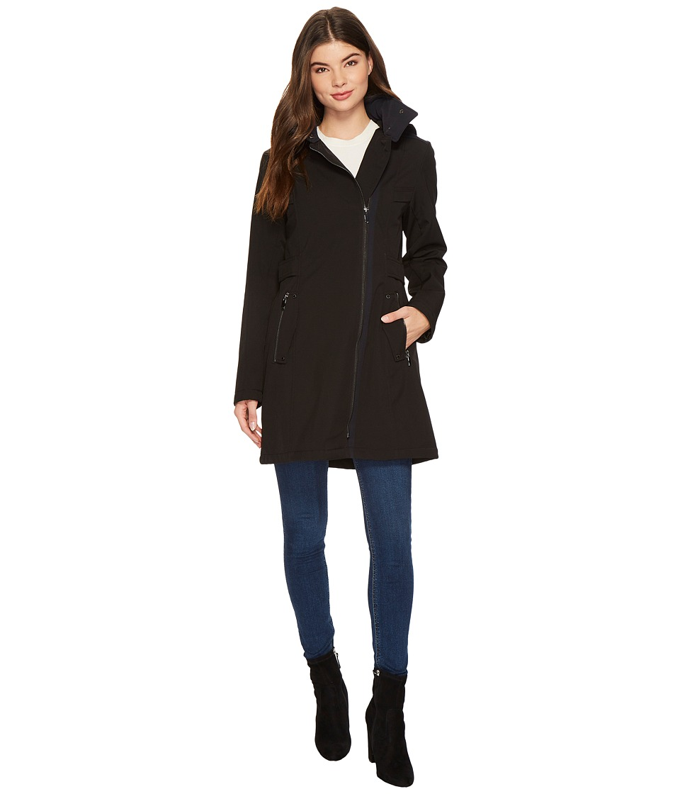Via Spiga - Soft Shell Military Asymmetrical Zip (Black) Women's Coat