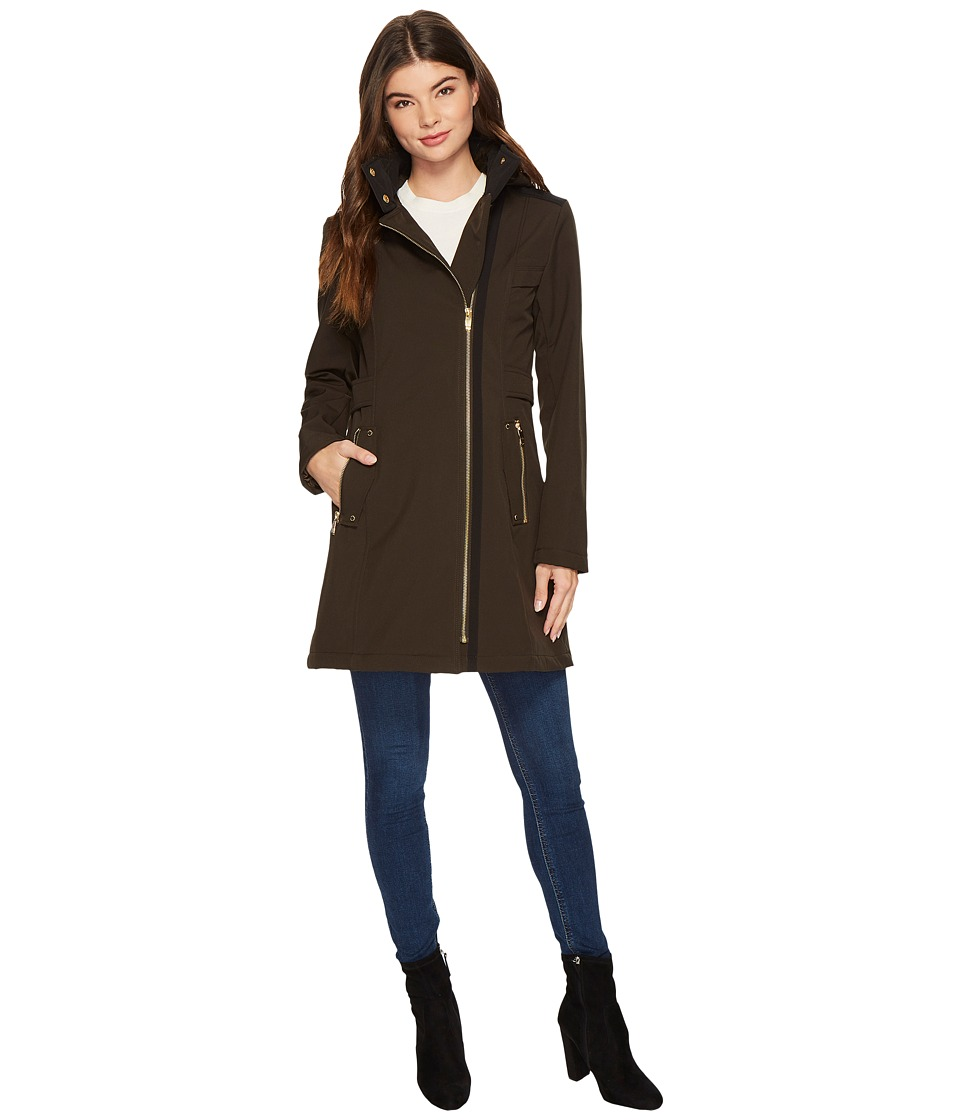 Via Spiga - Soft Shell Military Asymmetrical Zip (Loden) Women's Coat