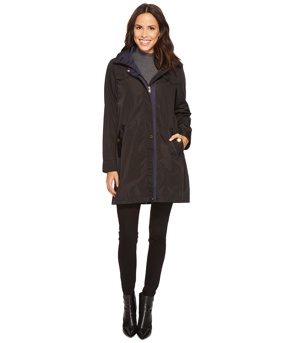 Via Spiga - Soft Shell Parka (Black/Navy) Women's Coat