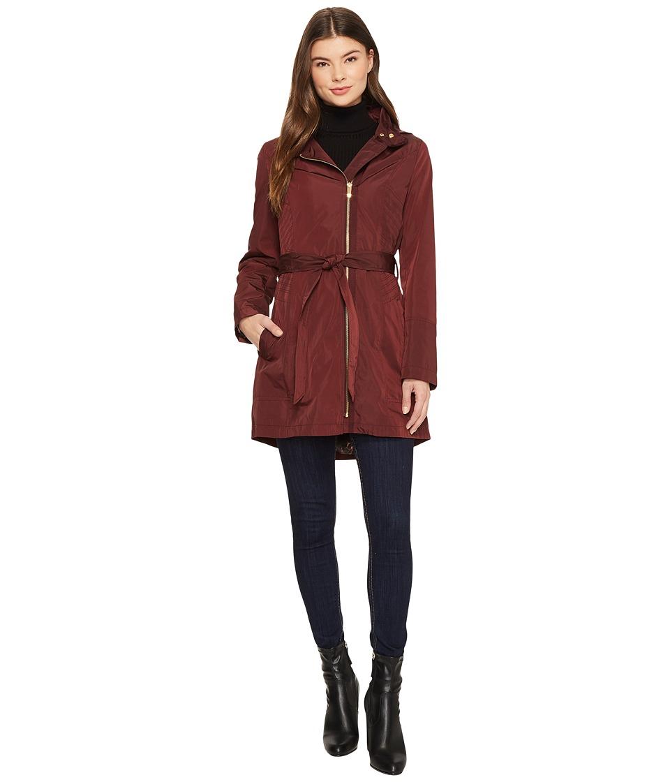 Via Spiga - Soft Shell Belted Asymmetrical Zip (Wine) Women's Coat