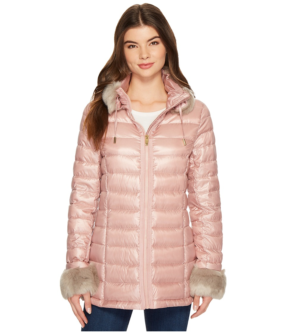Via Spiga - Horizontal Down with Faux Fur Trim (Dusty Pink) Women's Coat