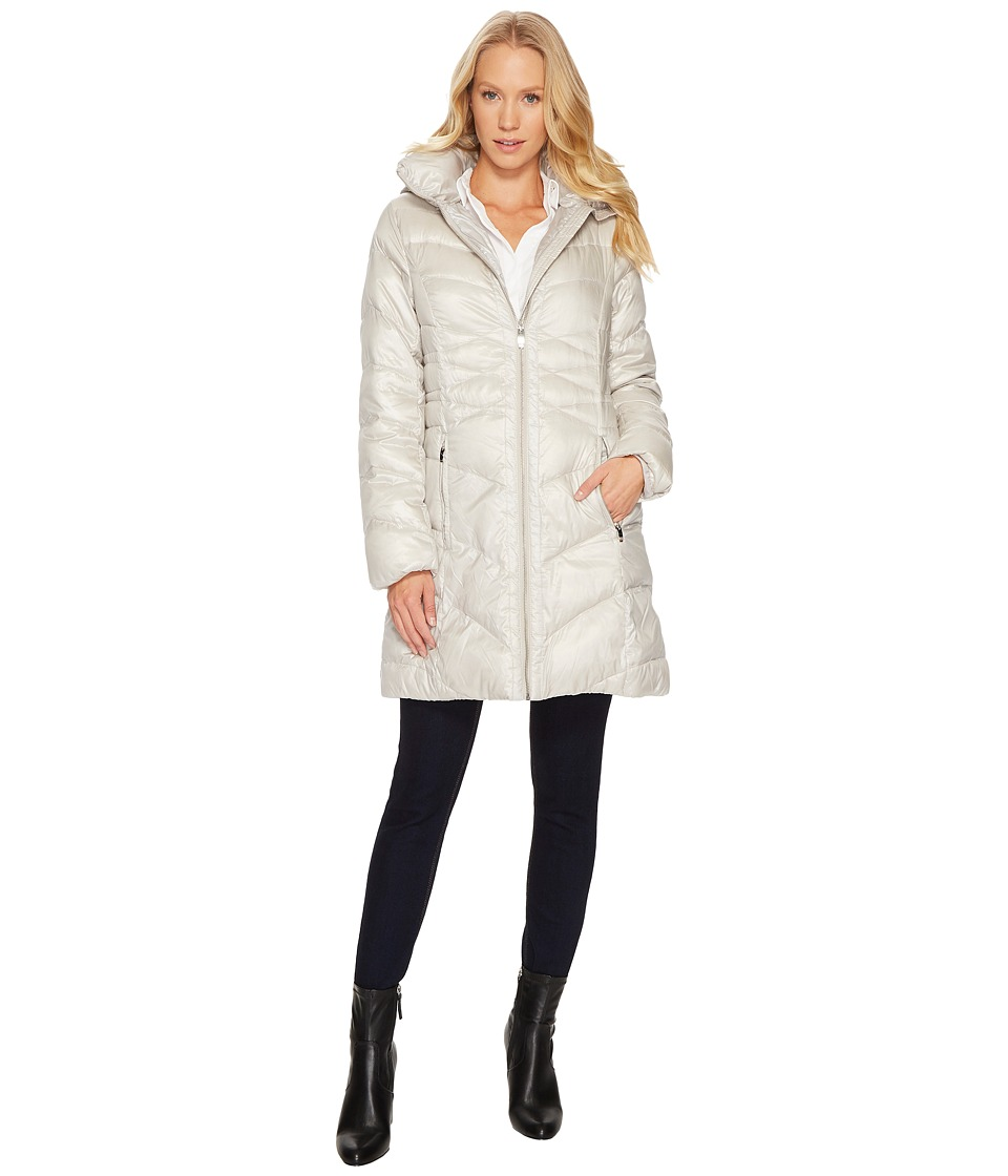 Via Spiga - Mix Quilted Puffer (Platinum) Women's Coat