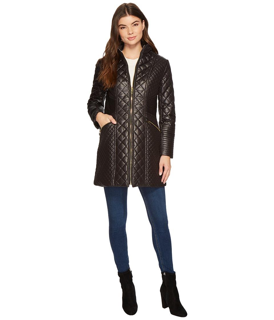 Via Spiga - Boxy Diamond Quilt (Black) Women's Coat