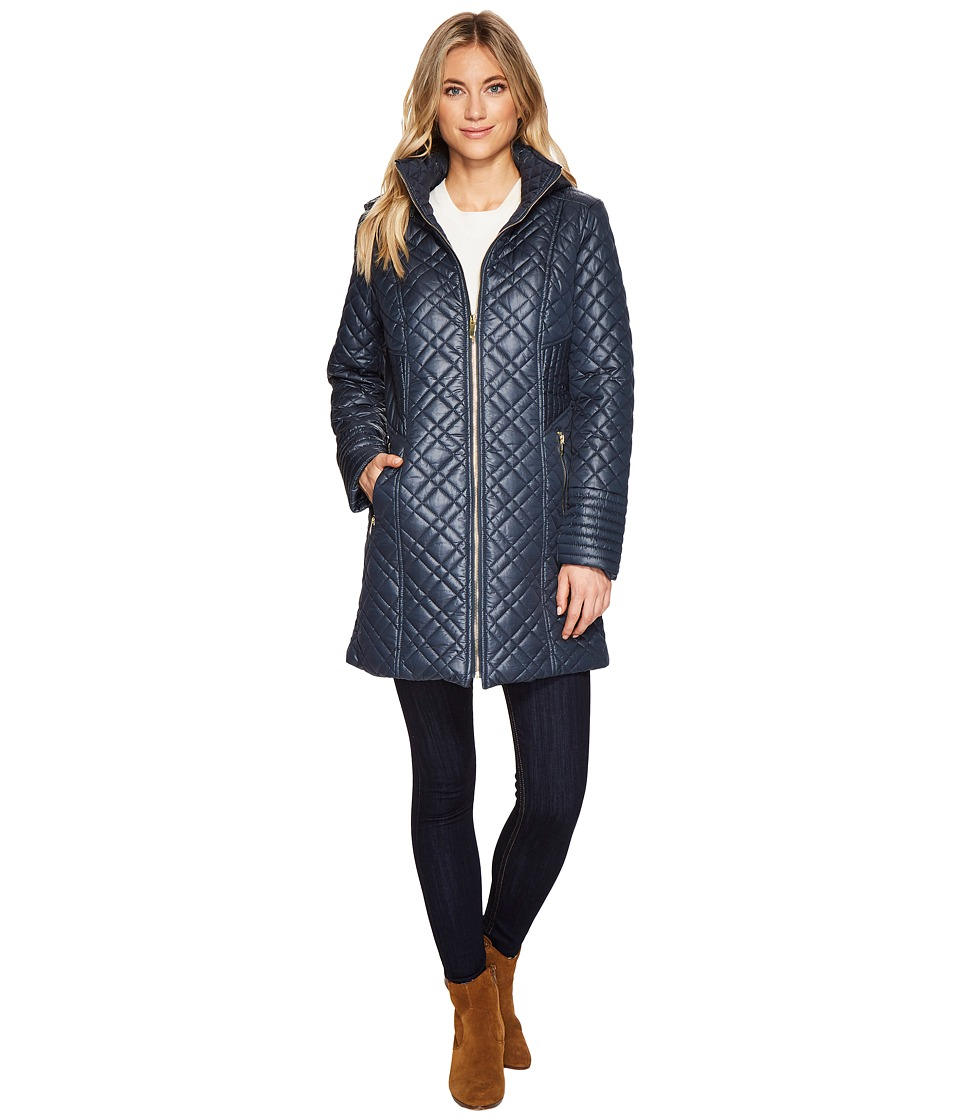 Via Spiga - Mini Quilted Hooded (Teal) Women's Coat