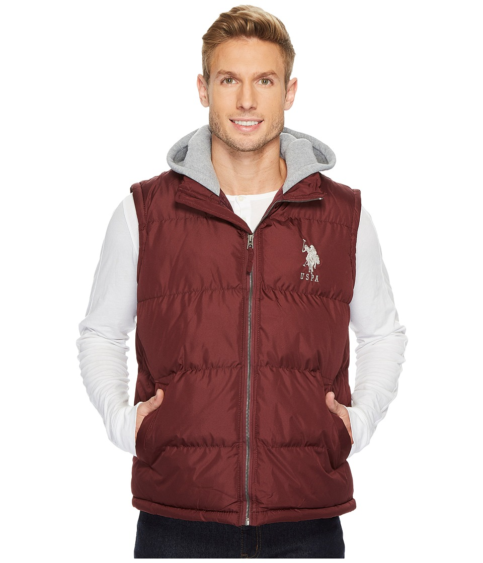 U.S. POLO ASSN. - Basic Puffer Vest with Fleece Hood (East Burgundy) Men's Vest