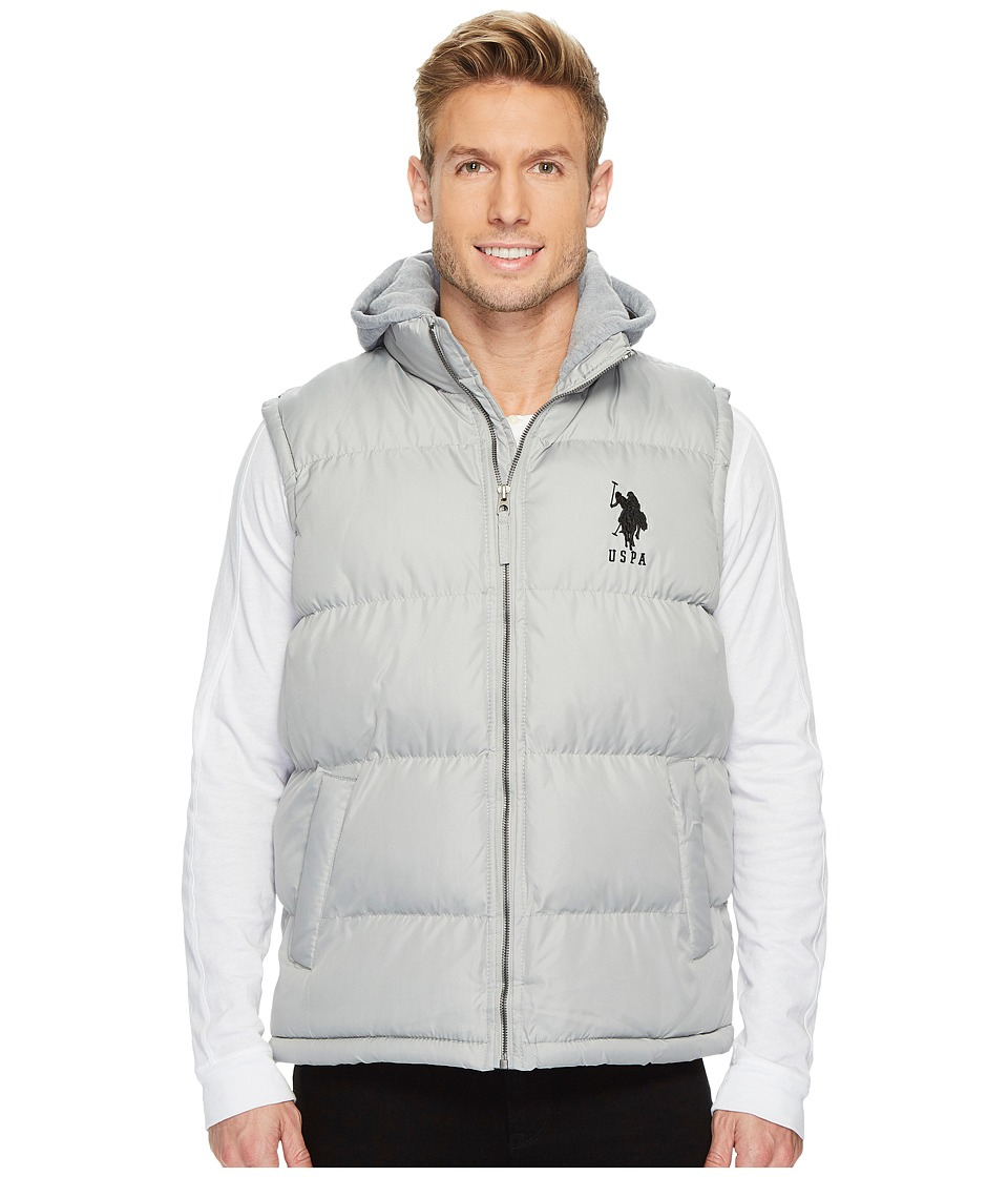 U.S. POLO ASSN. - Basic Puffer Vest with Fleece Hood (Lime Stone) Men's Vest
