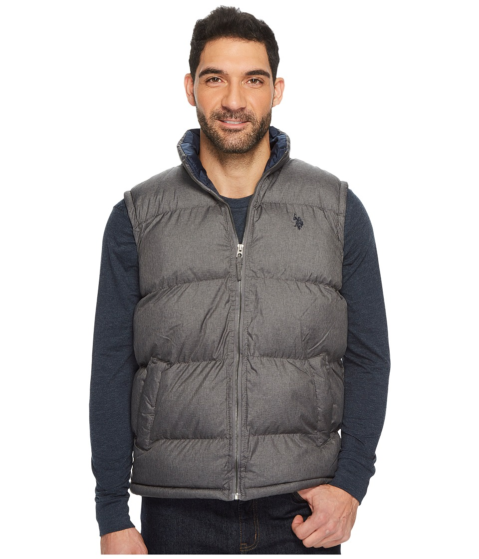 U.S. POLO ASSN. - Basic Puffer Vest with Small Pony Logo (Dark Heather Grey) Men's Vest