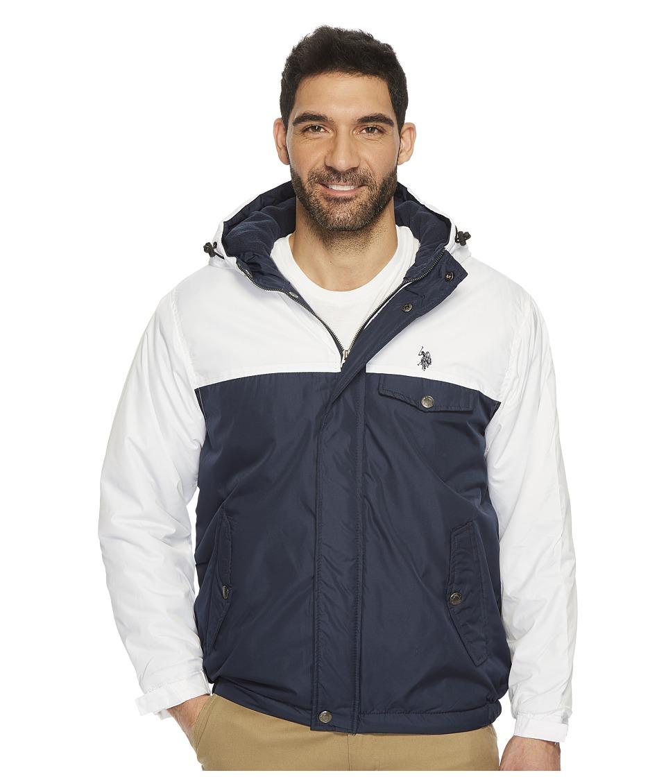 U.S. POLO ASSN. - Color Block Fixed Hood Windbreaker (White) Men's Coat