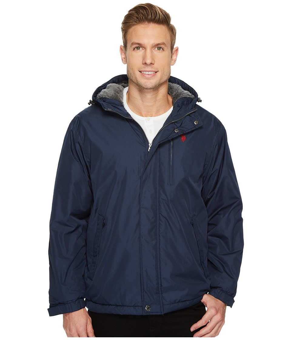 U.S. POLO ASSN. - Fixed Hood Solid Windbreaker (Classic Navy) Men's Coat
