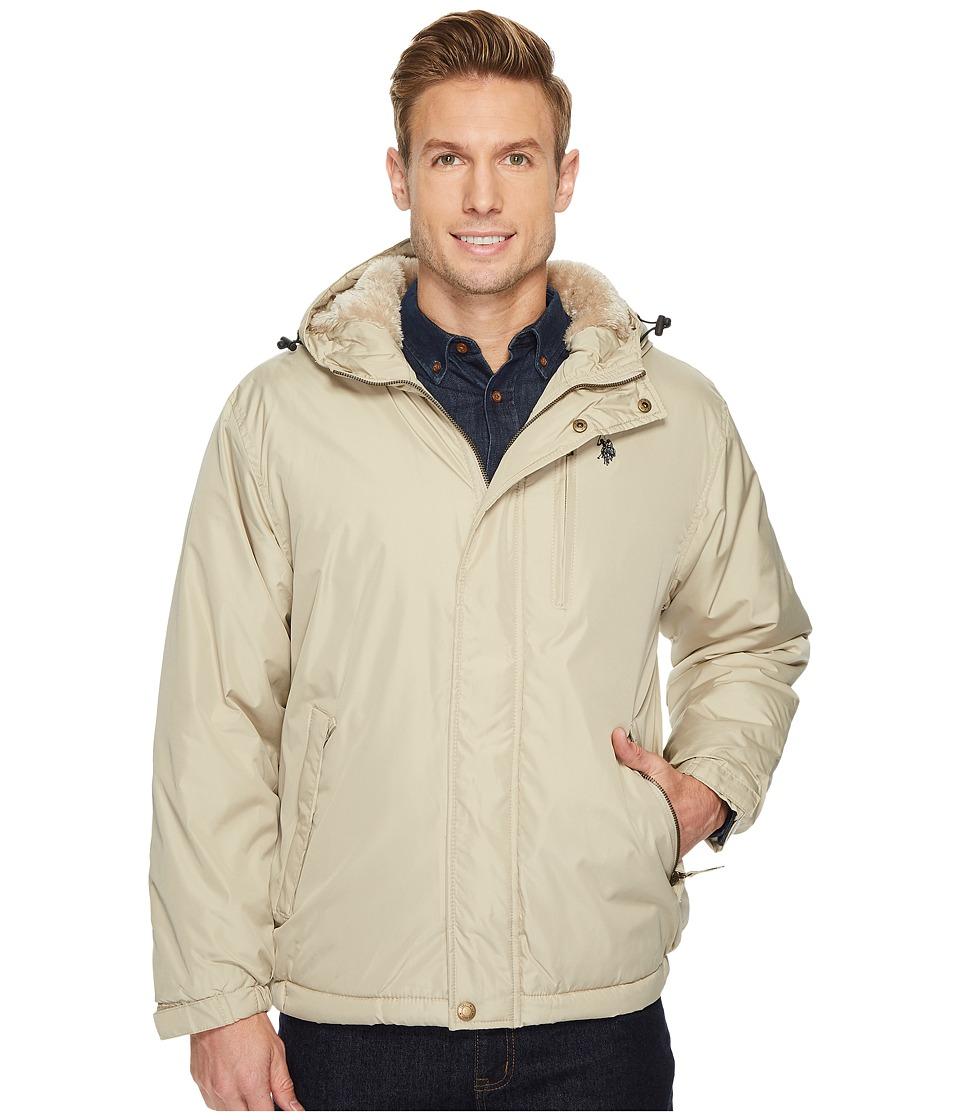 U.S. POLO ASSN. - Fixed Hood Solid Windbreaker (Thompson Khaki) Men's Coat