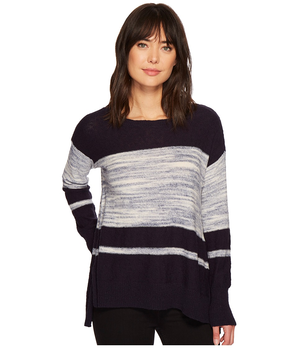 TWO by Vince Camuto Long Sleeve Blocked Space Dye Stripe Sweater (Blue Night) Women