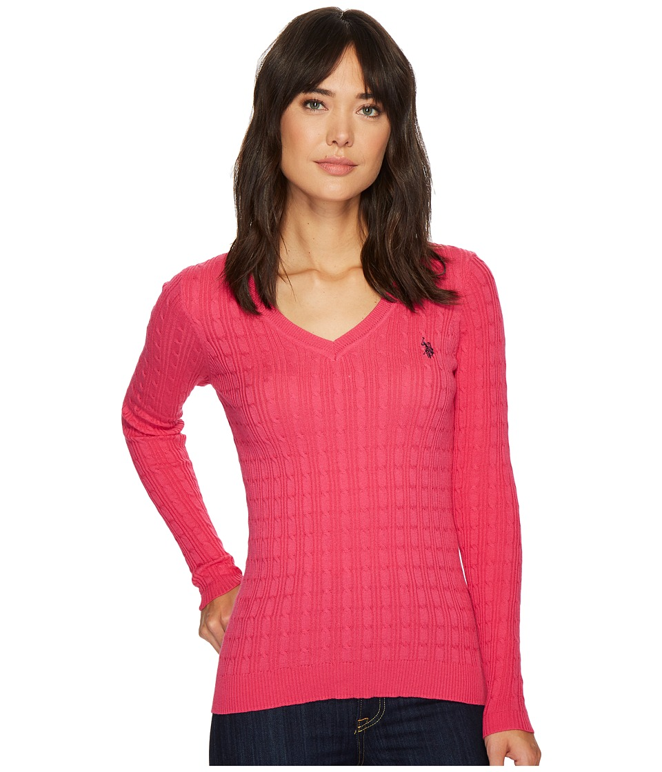 U.S. POLO ASSN. - Solid V-Neck Cable Knit Sweater (Bittersweet Pink Combo) Women's Sweater