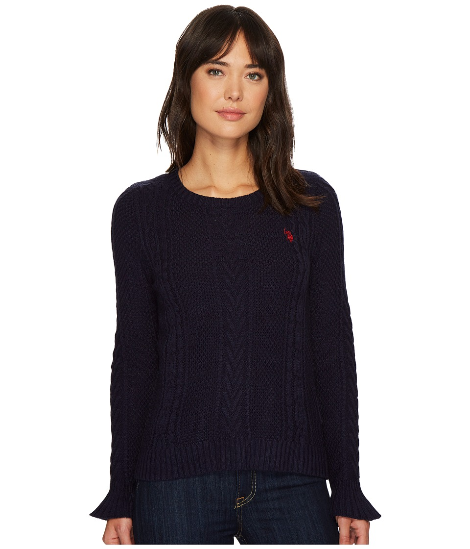 U.S. POLO ASSN. - Ruffle Sleeve Cable Knit Sweater (Evening Blue Combo) Women's Sweater