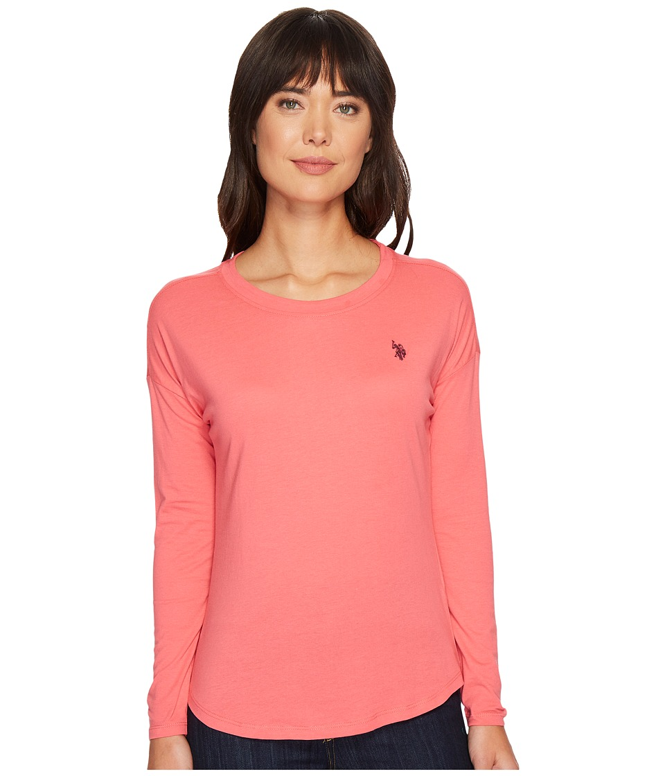 U.S. POLO ASSN. - Vent Back Top (Coral Ribbon) Women's Clothing