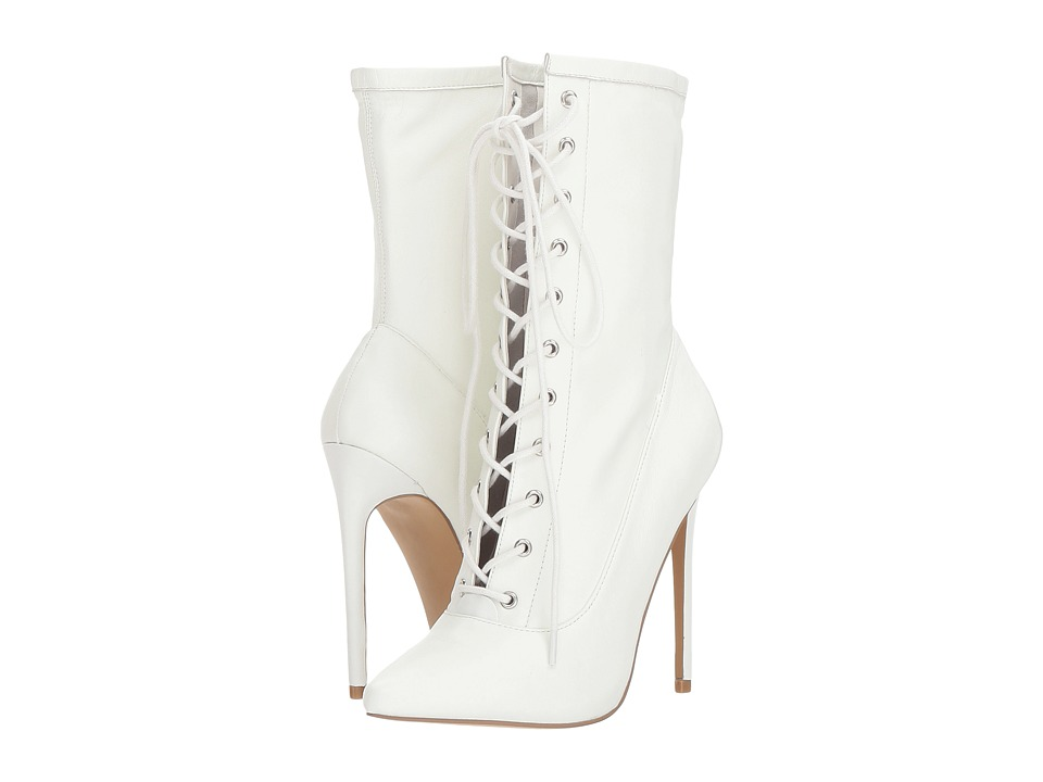 Steve Madden Satisfied Dress Boot (White Leather) Women