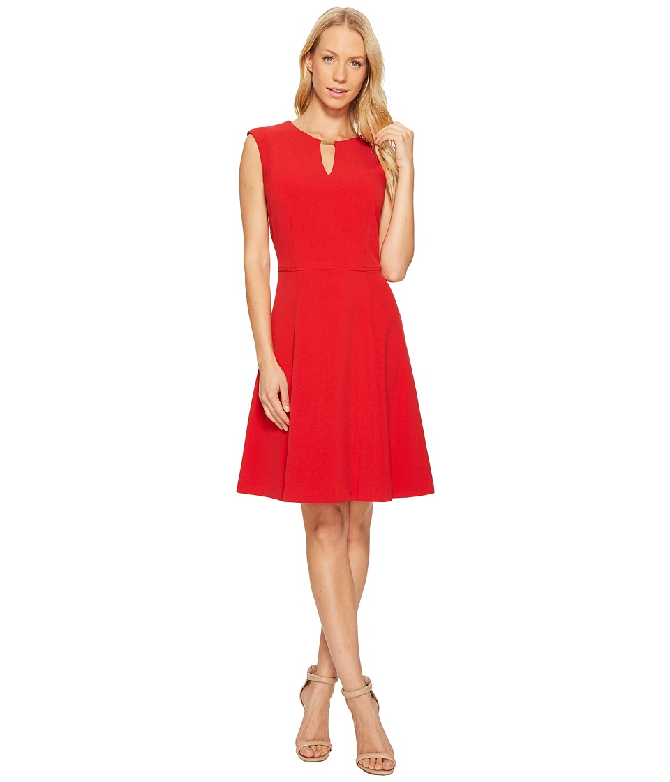 Tahari by ASL - A-Line Dress with Gold Trim (Fire Red) Women's Dress