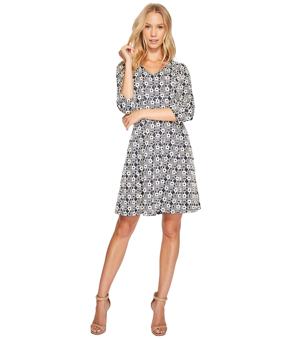Taylor - V-Neck Geo Print Knit Jacquard Dress (Navy/Cream) Women's Dress