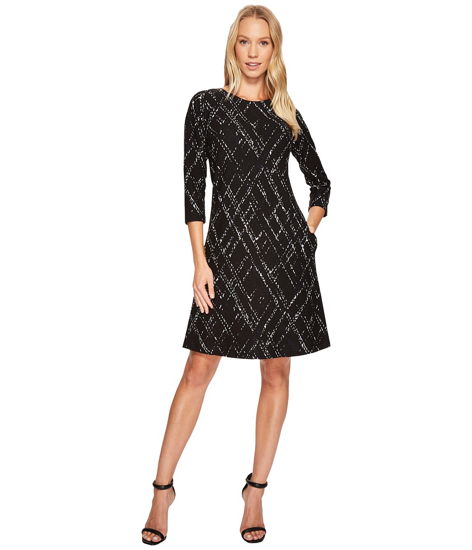 Taylor - Textured Knit Jacquard Dress (Lapis/Ivory/Black) Women's Dress