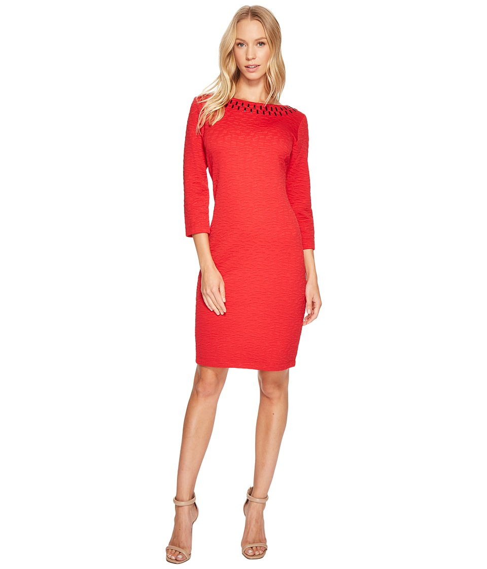 Taylor - Textured Jeweled Neck Knit Jacquard Dress (Red) Women's Dress