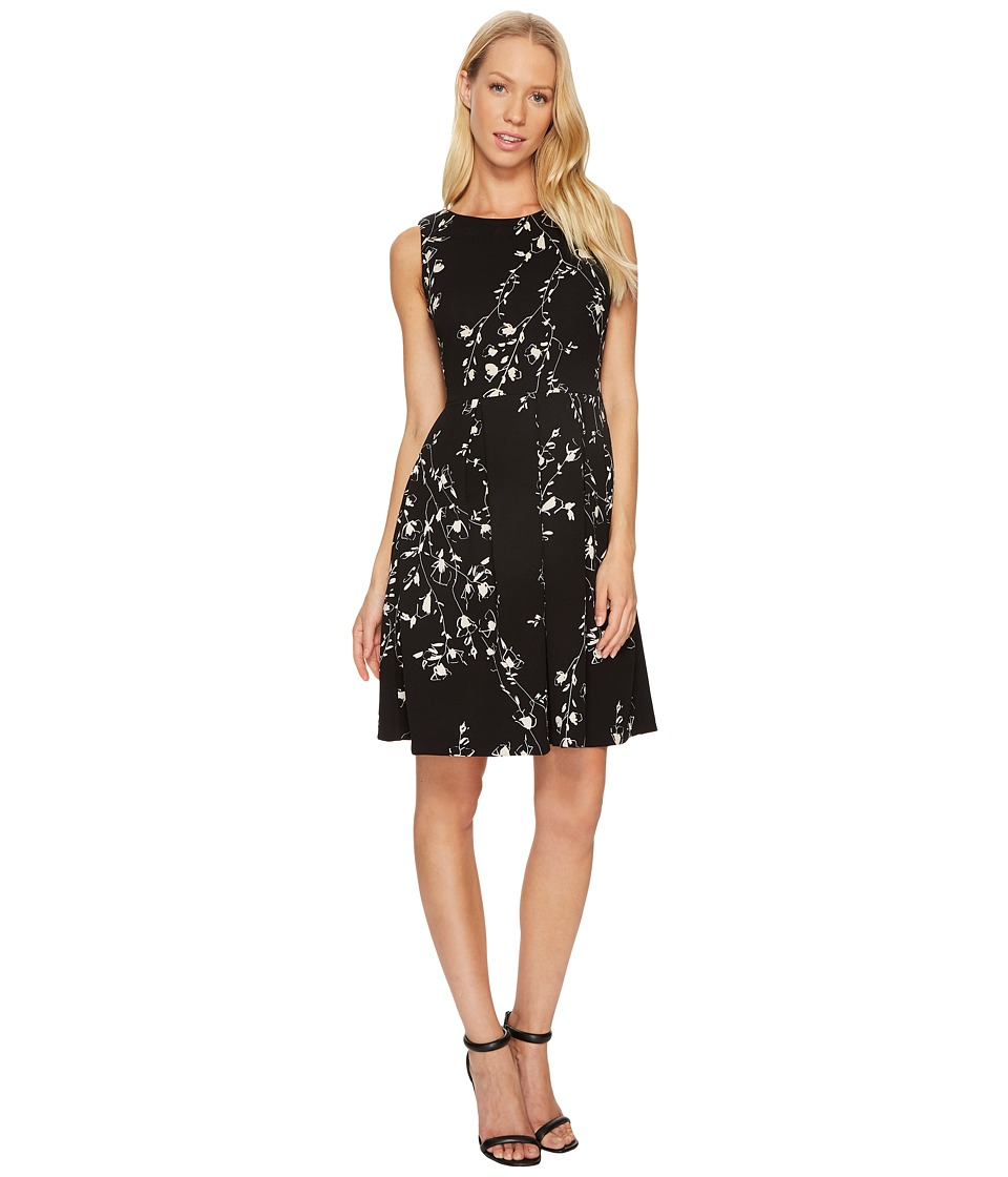 Taylor Floral Scuba Fit-and-Flare Dress (Black/Beige) Women