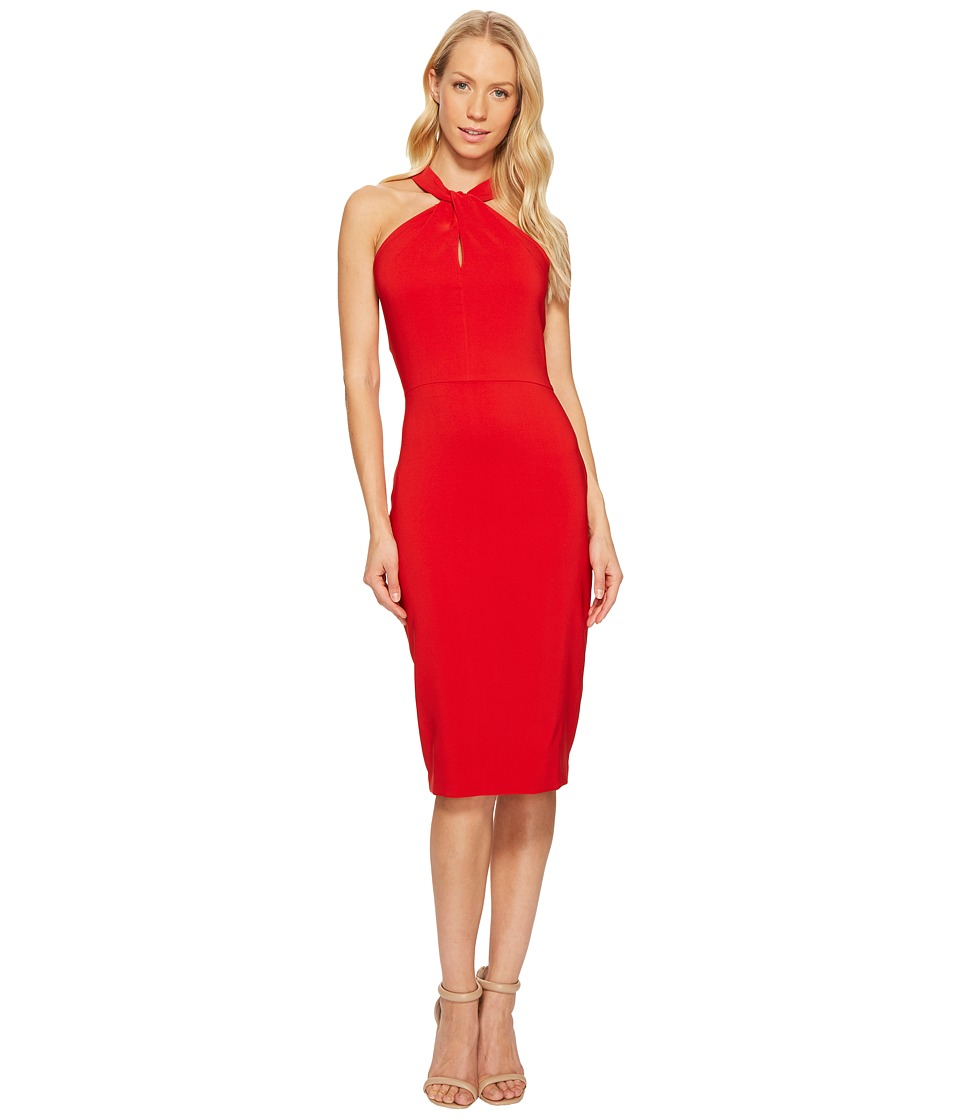 Taylor - Knot Neck Halter Midi Dress (Red) Women's Dress