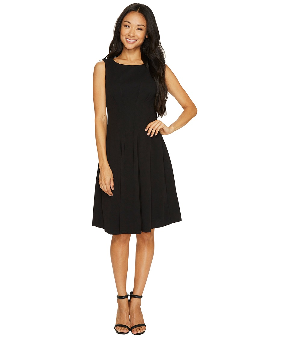 Taylor - Scuba Crepe Fit and Flare Dress (Black) Women's Dress