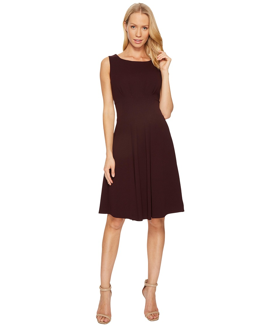 Taylor Scuba Crepe Fit and Flare Dress (Aubergine) Women