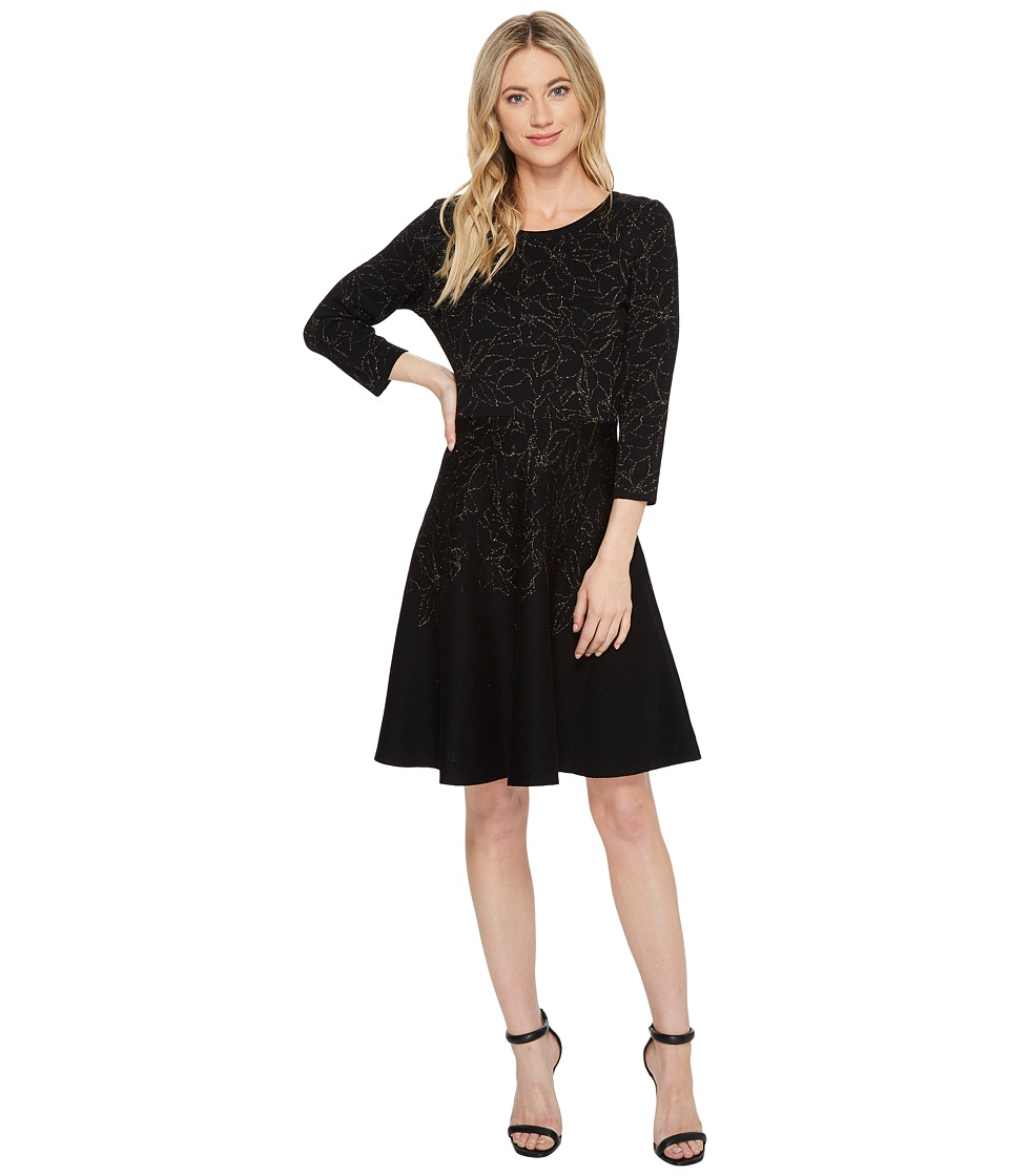 Taylor Floral Metallic Fit-and-Flare Sweater Knit Dress (Black/Gold) Women
