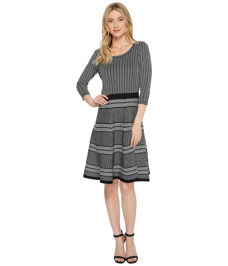 Taylor Multi Striped Fit-and-Flare Sweater Knit Dress (Black/Ivory) Women