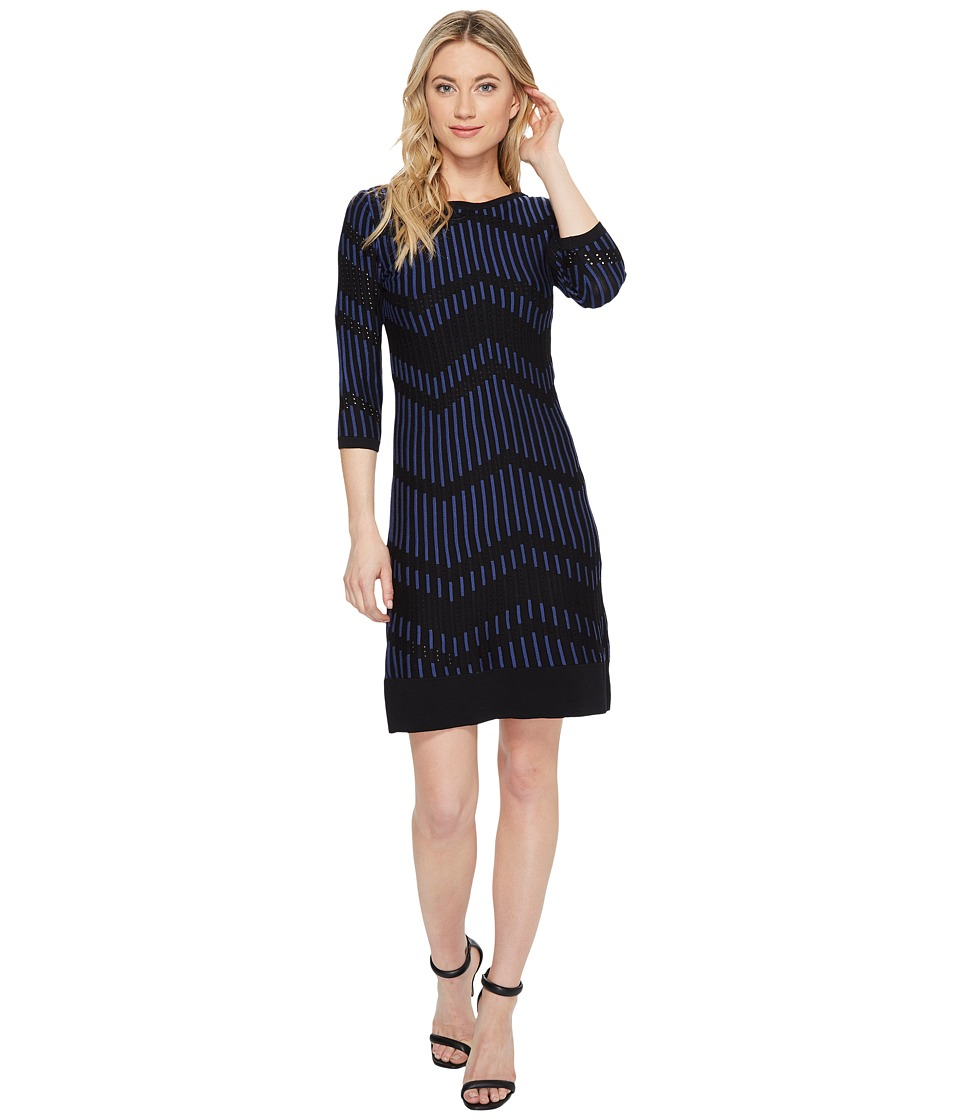 Taylor Chevron Shift Sweater Knit Dress (Black/New Navy) Women