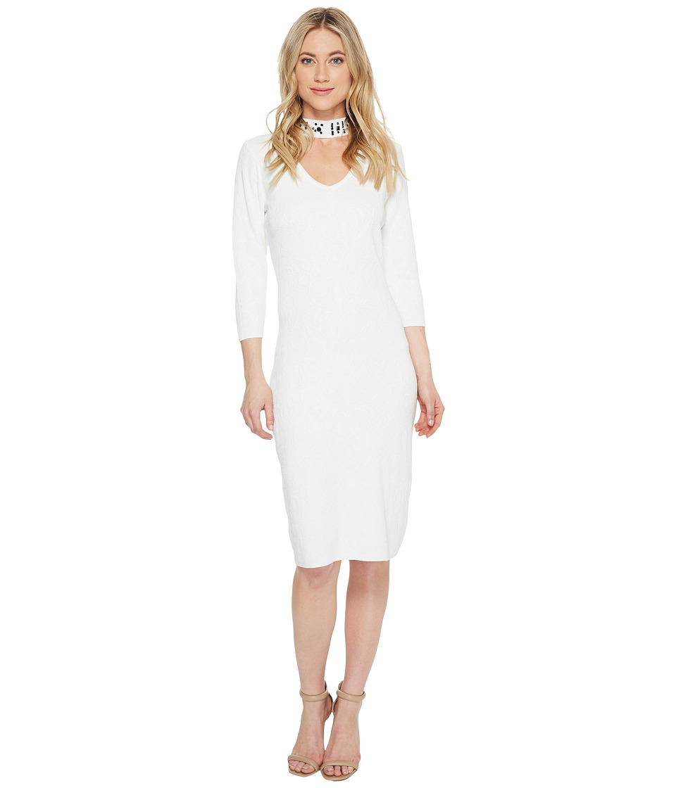Taylor - Embellished Collar Sweater Knit Dress (Ivory) Women's Dress