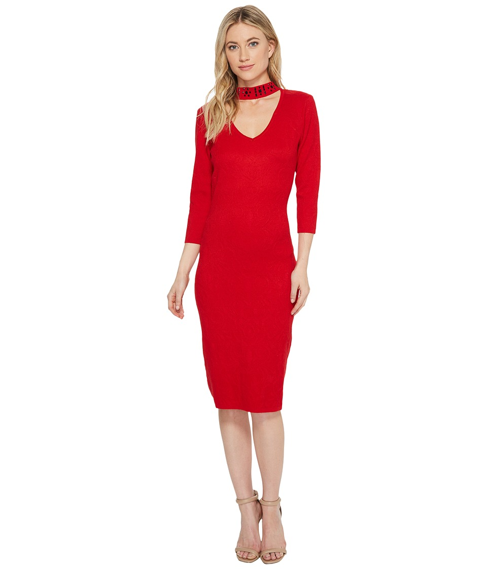 Taylor Embellished Collar Sweater Knit Dress (Red) Women