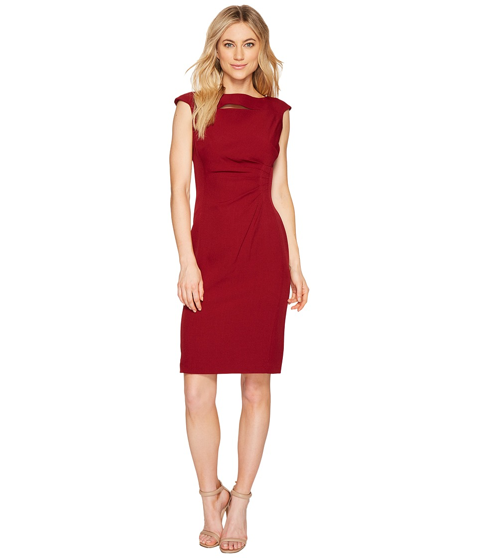 Tahari by ASL - Neck Slash Sheath Dress (Bordeaux) Women's Dress