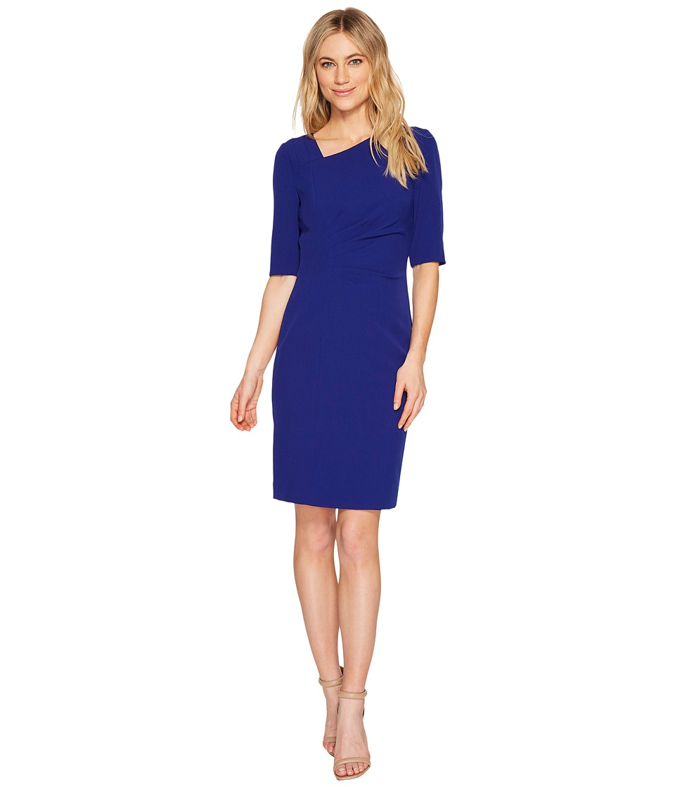 Tahari by ASL - Asymmetric Sleeved Sheath Dress (Cobalt) Women's Dress