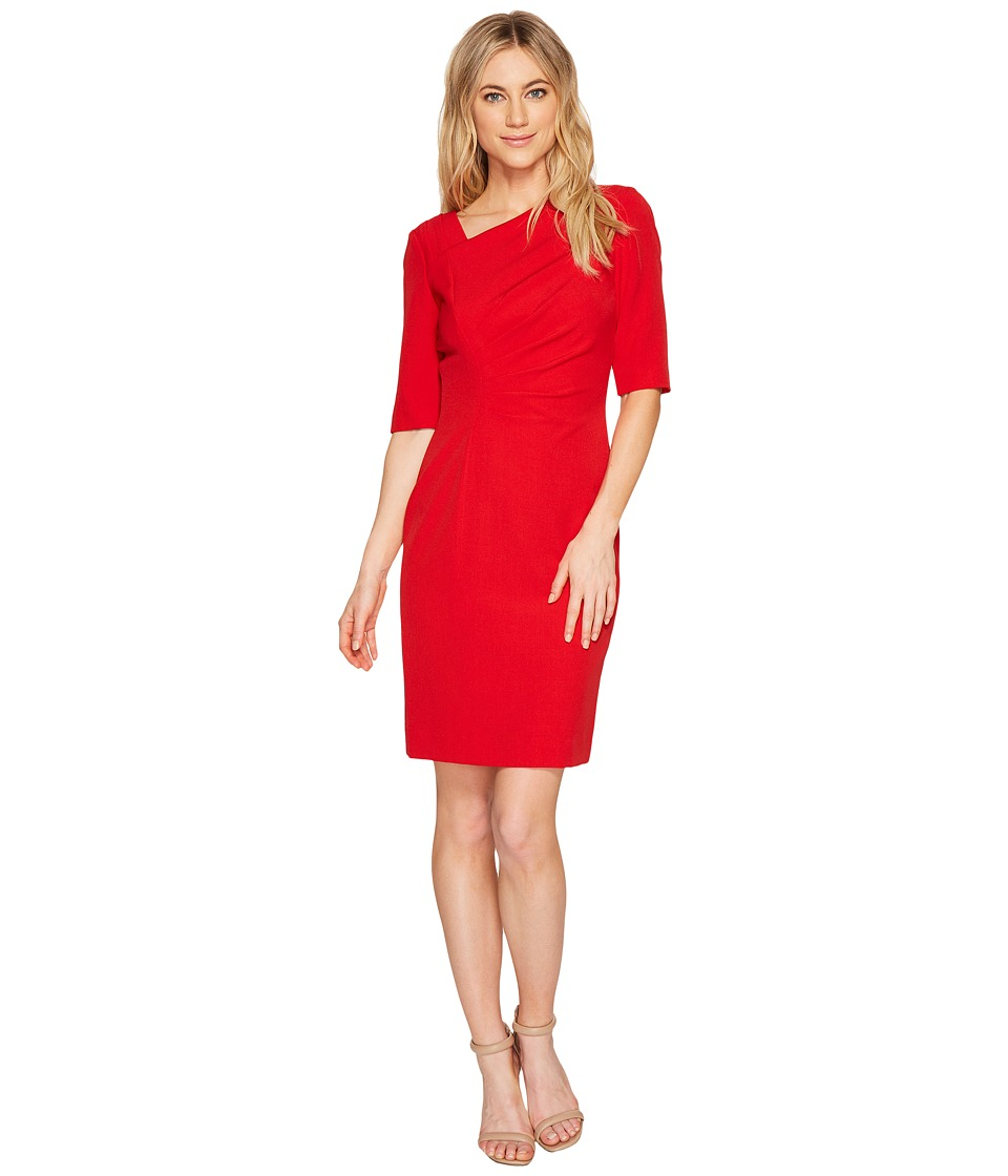 Tahari by ASL - Asymmetric Sleeved Sheath Dress (Cherry) Women's Dress