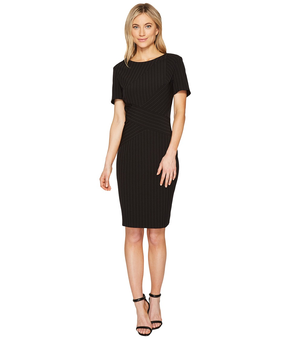 Tahari by ASL - Pinstripe Sheath Dress (Black/White) Women's Dress