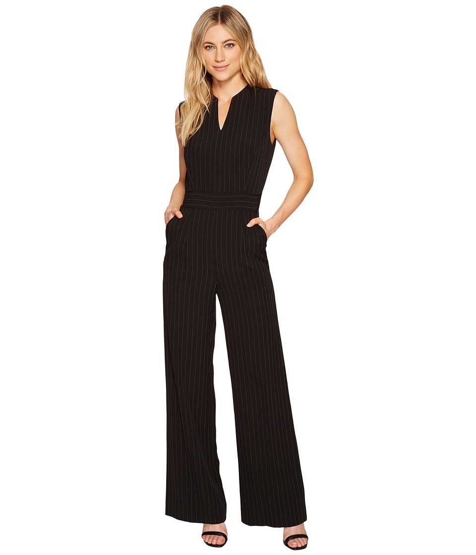 Tahari by ASL - Pinstripe Crepe Jumpsuit (Black/White) Women's Jumpsuit & Rompers One Piece