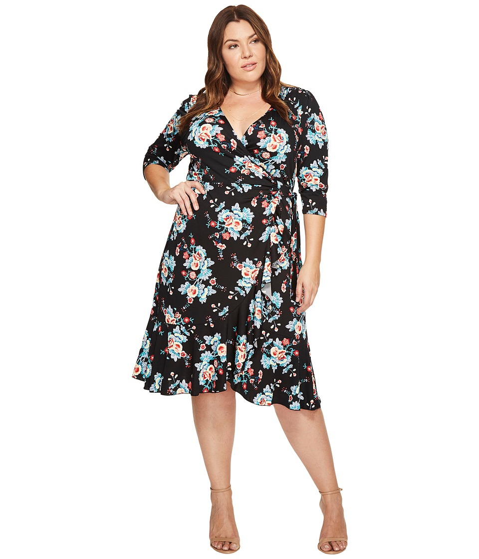 Kiyonna Flirty Flounce Wrap Dress (Midnight Vintage Floral) Women's Dress